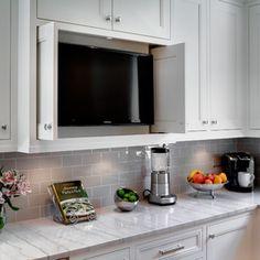Oak Park Kitchen by TZS Design traditional kitchen - grey backsplash tiles Subway Tile Kitchen, Kitchen Backsplash, Kitchen Cabinets, White Cabinets, Backsplash Design, Backsplash Ideas, Tv Cabinets, Rustic Backsplash, Closets