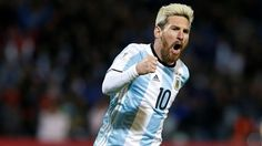 Lionel Messi celebrates after scoring the first goal