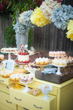 dessert buffet...Love the drawers turned upside down to become another layer to display - I don't think my buffet will do that though...darn!