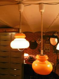 Suspension monte et baisse en verre orange 60's deco authentique - Luminaires anciens 2