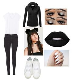 """Panda bears!!"" by veronicavelez-1 ❤ liked on Polyvore featuring Maison Scotch, J.TOMSON, Lime Crime, Yves Saint Laurent, halloweencostume and DIYHalloween"