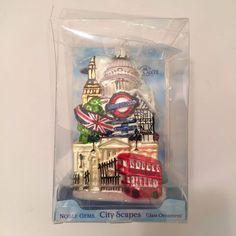 London City Christmas Ornament Kurt Adler Blown Glass City Scapes Noble Gems New #KurtSAdler