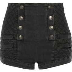Pierre Balmain Button-detailed quilted stretch-denim shorts ($825) ❤ liked on Polyvore featuring shorts, balmain, charcoal, stretch denim shorts, shiny shorts, button shorts, pierre balmain and zipper shorts
