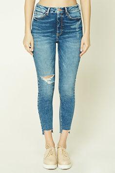 Raw-Cut Skinny Jeans