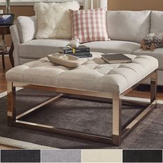 Solene Square Base Ottoman Coffee Table - Champagne Gold by Inspire Q ([Grey Linen]- Smooth Top)