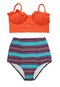 Orange Midkini Top and African Print Printed by venderstore