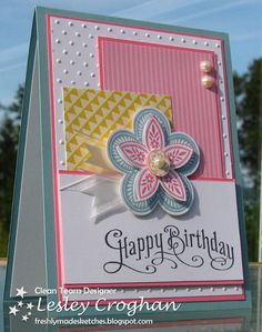 handmade birthday card from Always Playing with Paper ... Freshly Made Sketches #34 ... pretty pastels ... Triple Treat Flower ... Stampin' Up!