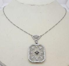 ART DECO SOLID 14K WHITE GOLD ROCK CRYSTAL CAMPHOR GLASS NECKLACE | eBay