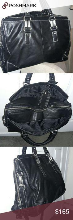 Selling this Perlina Black Leather Travel Tote / Carry-on Bag! on Poshmark! My username is: travis47. #shopmycloset #poshmark #fashion #shopping #style #forsale #Perlina #Handbags