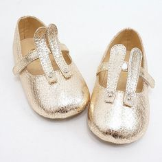 metallic baby bunny shoes