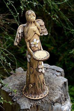 Anděl na svíčku-na objednávku Paper Clay Art, Ceramic Angels, Angels Among Us, Willow Tree, Fairy Houses, Garden Sculpture, Earth Angels, Pottery, Ceramics