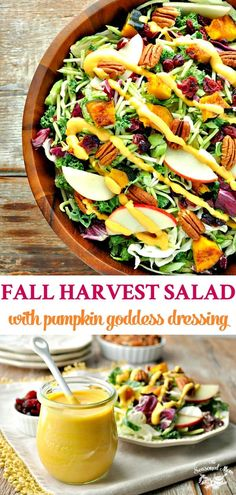 Fall Harvest Salad with Pumpkin Goddess Dressing is a healthy Thanksgiving Side Dish recipe!This Fall Harvest Salad with Pumpkin Goddess Dressing is a healthy Thanksgiving Side Dish recipe! Healthy Thanksgiving Recipes, Thanksgiving Side Dishes, Healthy Recipes, Thanksgiving Dressing, Paleo Fall Recipes, Turkey Side Dishes, Thanksgiving Desserts, Thanksgiving Turkey, Gastronomia