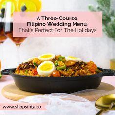 A Christmas Filipino Wedding Menu You Can DIY – Sinta & Co. Filipino Wedding, Money Dance, Calamansi, Lechon, Duck Eggs, Cocktail Desserts, Spanish Wine, Christmas Night, Food Staples