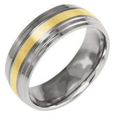 Titanium Ridged Edge 14k Gold Inlay 8mm Brushed/polished Band, Best Quality Free Gift Box Satisfaction Guaranteed. This adds a sense of charm to your favorite collection.Titanium Ridged Edge 14k Yellow Inlay 8mm Brushed/Polished Band. Model No.: TB101-8.5. Titanium/14K Two-Tone. Product Type: Jewelry. Jewelry Type: Rings. Material: Primary: Titanium. Material: Primary - Color: Two-Tone. Material: Primary - Purity: 14K. Width: 8 mm. Thickness: 2 mm. Sold By Unit: Each. Engravable: Yes. Got...