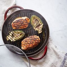 Check out Steam-Grilled Pork and Artichokes recipe and more from Sur La Table! Staub Recipe, Indoor Grill Pan, Whole Food Recipes, Dinner Recipes, Artichoke Recipes, Grilled Pork, Pork Dishes, Spring Recipes, Winter Food