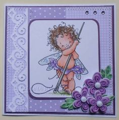Needle Fairy - Maurie Manning digi stamp and quilling flowers