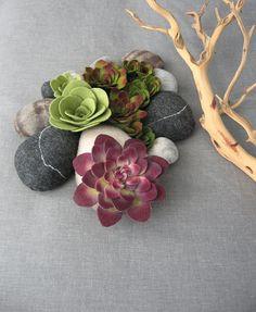 felt succulent plant and faux rock soft sculpture by miasole
