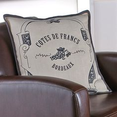 Bordeaux Throw Pillow at Wine Enthusiast - $89.95