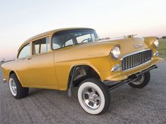 55 Chevy 210 One of My Favorite Colors! A Chevy Ochre!!!  (Harvest Gold)