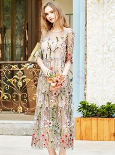 Shop for high quality Sweet Embroidered Mesh Slim Maxi Dress online at cheap prices and discover fashion at Ezpopsy.com