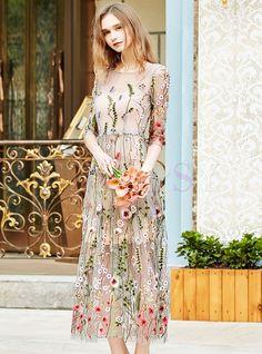 Sweet Embroidered Mesh Slim Maxi Dress