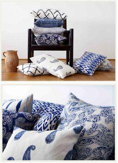 indigo blue pillows- lanai and living room