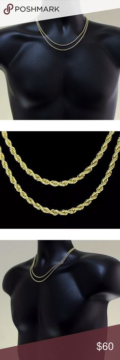 """GOLD Rope Chains Bundle Necklaces Women, Men 2pc Choker / Necklace Set 3mm Rope Chains 18"""" 20"""" 14k Premium Gold Plating for Women or Men.  Premium Gold 18 and 20 inch chains Lobster clasps for a secure fit 2 pc Bundle Set Amazing Shine for a Great Price! You will get BOTH CHAINS. Two for the price of one! Jewelry Necklaces"""