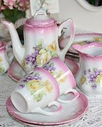 Antique Victorian Children's Toy Violets & Roses Tea Set Service for 4-pink,floral,china,child,1900's,transfer, yellow, lavender
