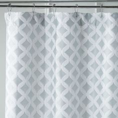 Add a modern dimension to your bathroom with our geometric shower curtain executed in a woven jacquard with a subtle sheen. Designed for easy care and longevity.