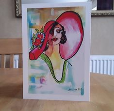 Lady In Red Hat Greeting Card Original Painting Multi Purpose Card By Ladydarinefinecrafts UK Etsy Shop Hello Card Get Well Card Invite Card Pink Cushions, Paint Cards, Get Well Cards, Red Hats, Etsy Uk, Best Artist, Blank Cards, Portrait Art, Lady In Red
