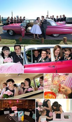 50s style wedding in pink