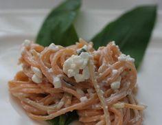 Bärlauch-Frischkäse Creme mit Nudeln