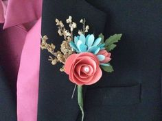 Paper Flower Boutonnieres for Groomsmen Coral and by SpringDews, $8.00