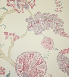 Palampore Wallpaper  Large floral Jacobean design wallpaper in mauve and raspberry.