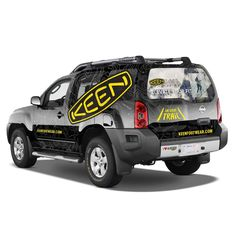A new look for the KEEN FSR truck in Alberta hit the streets of Calgary this year (2017)  Hard to see in such a small photo but the full background of the wrap is a topographic map calling out local areas such as Jasper Park.  The back window highlights a product initiative that they can change out every season without having to redo the full wrap.