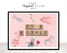 It's A Girl Sign Instant Download Girl Gender Reveal image 0 Scrabble Wedding, Scrabble Tile Art, Happy Birthday Printable, Girl Sign, American Decor, Announcement Cards, Save The Date Cards, Custom Posters, Printable Wall Art