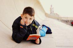 Boy reading, near the Redcar Beacon