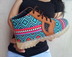 Ethno canvas shoes Ikat green turquoise by MarapulaiClothing