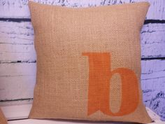 Childs monogram/initial burlap pillow cover-  rustic nursery - Pillow Insert Sold Separately via Etsy