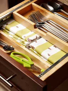 In the Kitchen: Avoid jumbled messes in drawers and cupboards with dividers, bags, and caddies for frequently used items, such as silverware, napkins, and even baking supplies. Most cabinet manufactures have good options for pullouts, shelf inserts, hooks, and other kitchen organizing tools.