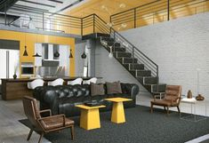 Apartment, Awesome White Yellow Loft Design Of White Studio Apartment: Spacey White Studio Apartments with Style