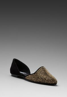STEVE MADDEN Vamp Flat in Black/Gold at Revolve Clothing - Free Shipping!