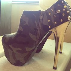 Camo high heel booties Camouflage print with gold studs and zipper on inside making it easy to take off and on. Never worn Shoe Dazzle Shoes