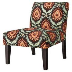 Avington Armless Slipper Chair - Espresso/Blue/Orange Ikat