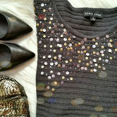 Gray Sequin Sweater Black Rivet gray striped sweater with sequined neckline. Like new condition. Would look great with leggings!  Size M Black Rivet Sweaters