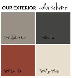 Exterior Paint Final Reveal - Jolly Little Times Exterior color scheme Sherwin Williams (shingle siding)SW Iron Ore, (main color) Elephant Ear, (front door) Flower Pot, (trim) Aged White. House Exterior Color Schemes, Exterior Paint Colors For House, Paint Colors For Home, Exterior Color Combinations, Paint Colours, Outside House Paint Colors, Red Color Schemes, Exterior Paint Ideas, House Siding Colors
