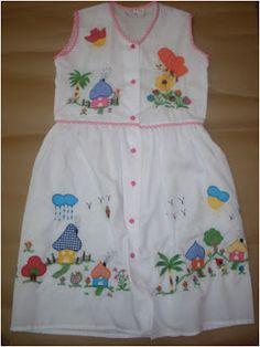 BORDADOS CENE: VESTIDOS PARA NIÑAS Simple Hand Embroidery Patterns, Baby Embroidery, Little Girl Dresses, Little Girls, Girls Dresses, Kids Frocks Design, Cotton Frocks, Baby Fabric, Frock Design