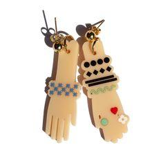 Colourful hand hook earrings by Iris De La Torre