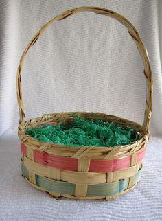 vintage easter basket | Large Vintage Mexico Wicker Easter Basket 1950 by myfavoritefinds