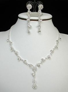 Dainty Diamante Teardrop Set Flower Drop Bridal Jewellery Sets Wedding Jewelry Pinterest And